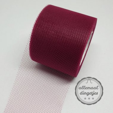 Tule 5cm breed effen bordeaux per meter