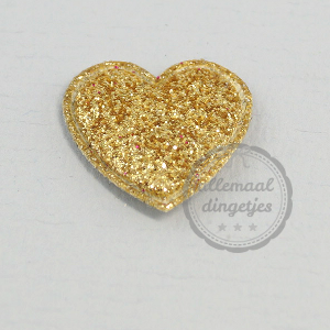 Hart applicatie glitter goudkleurig 20mm per stuk