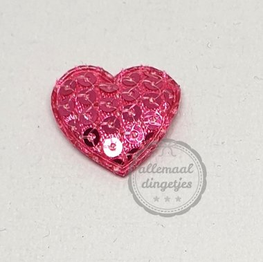 Hart applicatie fuchsia met pailletten 20mm per stuk
