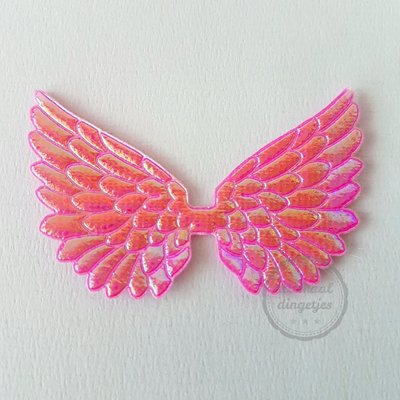 Vleugel angel wing applicatie fuchsia parelmoer glans 45x70mm (per stuk)