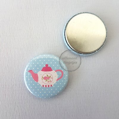 Tea Party lichtblauw theepot 25mm flatback button