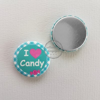 Candy Heart I love Candy turquoise 25mm flatback button