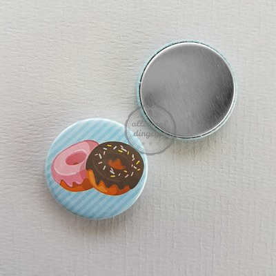 Candy Heart donuts blauwe achtergrond 25mm flatback button