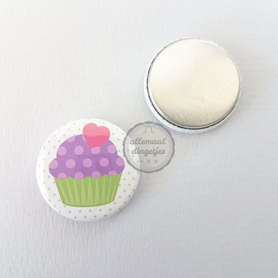 Cupcake Flavours wit groen paars 25mm flatback button