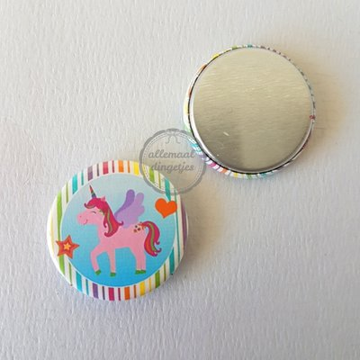 Magical Unicorn strepen met roze eenhoorn 25mm flatback button