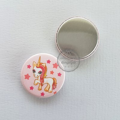 Magical Unicorn zalmroze eenhoorn 25mm flatback button