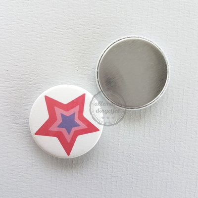 Magical Unicorn ster rozerood paars witte achtergrond 25mm flatback button
