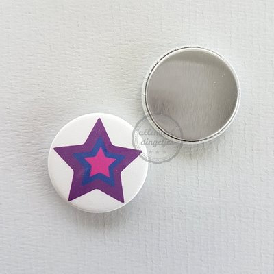 Magical Unicorn ster paars fuchsia donkerblauw witte achtergrond 25mm flatback button