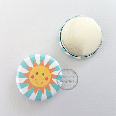 Tropical Fiesta Zonnetje op turquoise witte achtergrond 25mm flatback button
