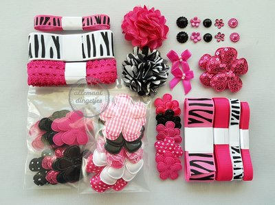 Pinky Zebra pakket bloemen applicaties lint elastiek zwart wit fuchsia