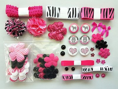 Pinky Zebra pakket bloem applicaties lint elastiek zwart wit fuchsia