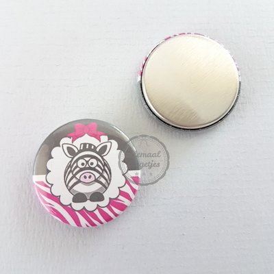 Pinky Zebra wit zwart antraciet fuchsia 25mm flatback button