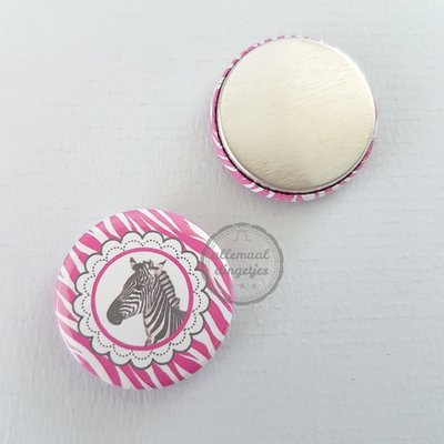 Pinky Zebra wit zwart fuchsia 25mm flatback button