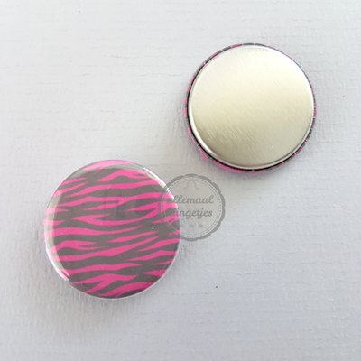 Pinky Zebra zwart fuchsia patroon 25mm flatback button