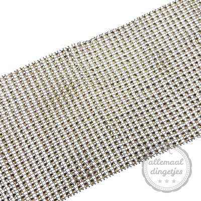 Band glitter zilver 12cm breed ong. 90cm lang