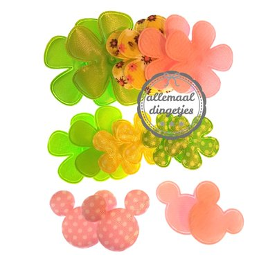 Bloem en muisjes applicaties mix lime geel roze 25-45mm