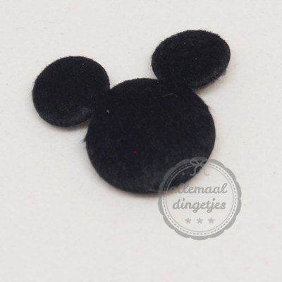 20 stuks Mickey muis applicaties zwart pluche 28mm