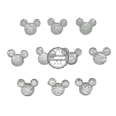Flatbacks Mickey muis transparant bubbel 6x12mm 10 stuks
