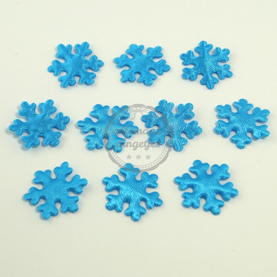 IJsster sneeuwvlok applicaties satijn turquoise 22mm 10 stuks