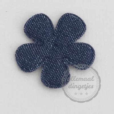 Bloem applicatie denim donkerblauw 35mm per stuk