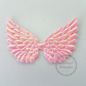 Vleugel angel wing applicatie roze parelmoer glans 45x70mm (per stuk)