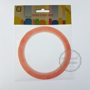 Extra sticky tape dubbelzijdig 3mm breed 10 meter