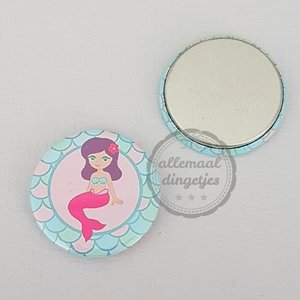 Flatback button zeemeermin mermaid lichtblauw roze 25mm
