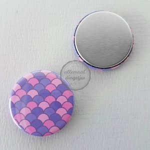 Flatback button patroon zeemeermin mermaid schubbenpaars roze 25mm
