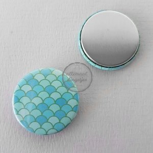 Flatback button zeemeermin mermaid schubben patroon blauw groen 25mm