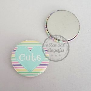 Flatback button blue mint hart met tekst Cute 25mm