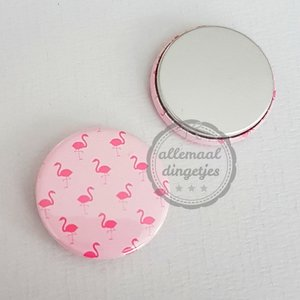 Flatback button lichtroze flamingo patroon 25mm
