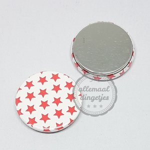 Flatback button ster patroon rood Kerst 25mm