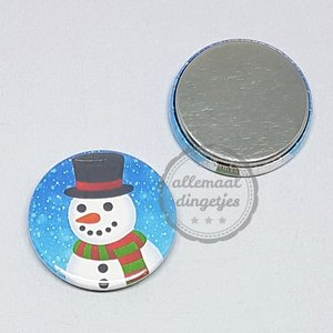 Flatback button sneeuwpop close up Kerst 25mm
